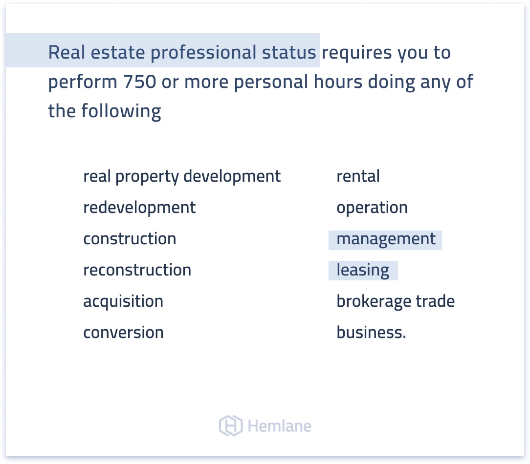 These are the services you need to perform to obtain the IRS' real estate professional status