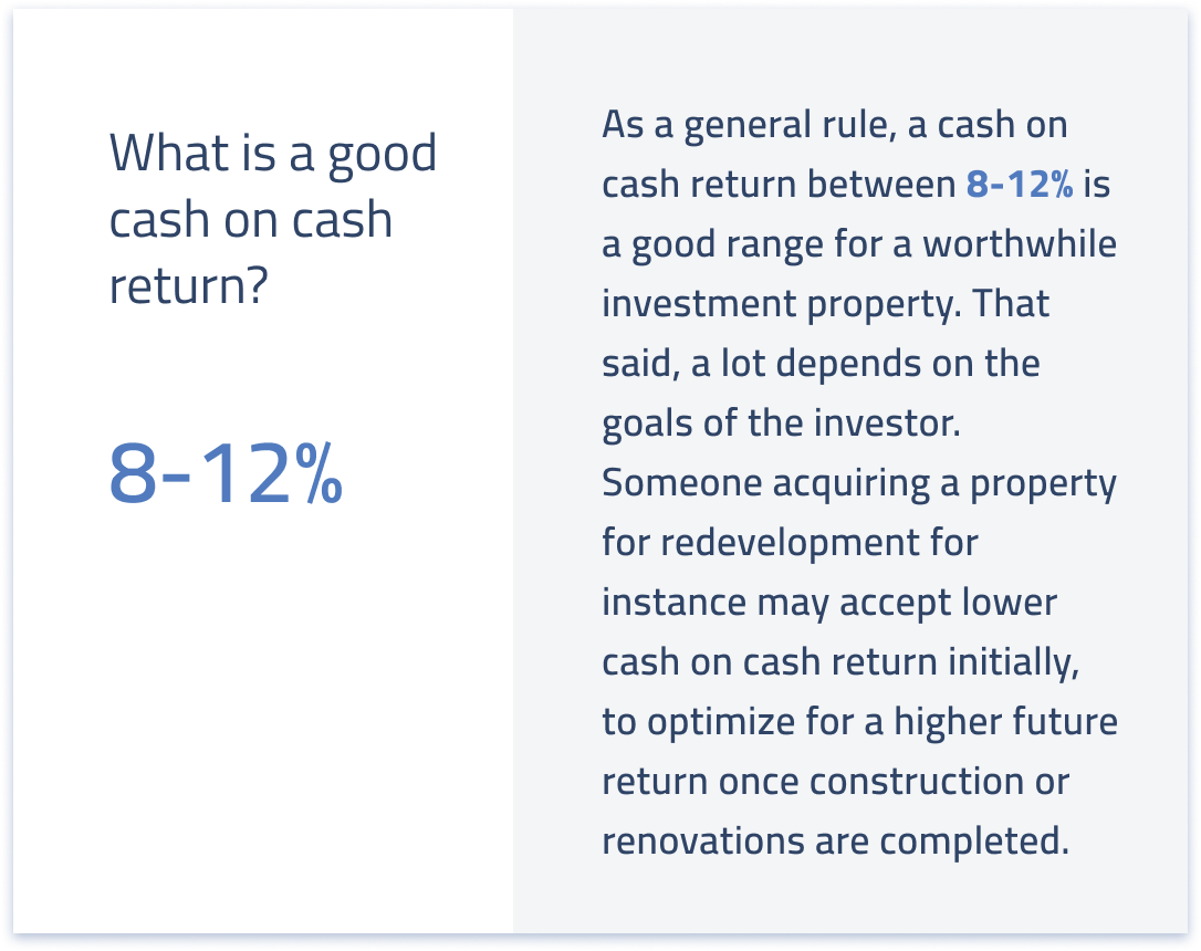 What is a good cash on cash return for real estate?