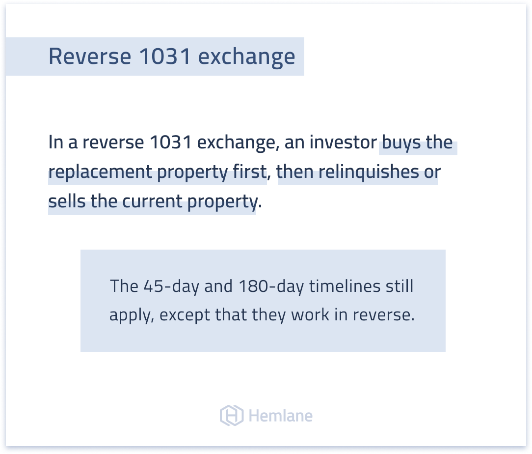 What is a reverse 1031 exchange and how does it work?