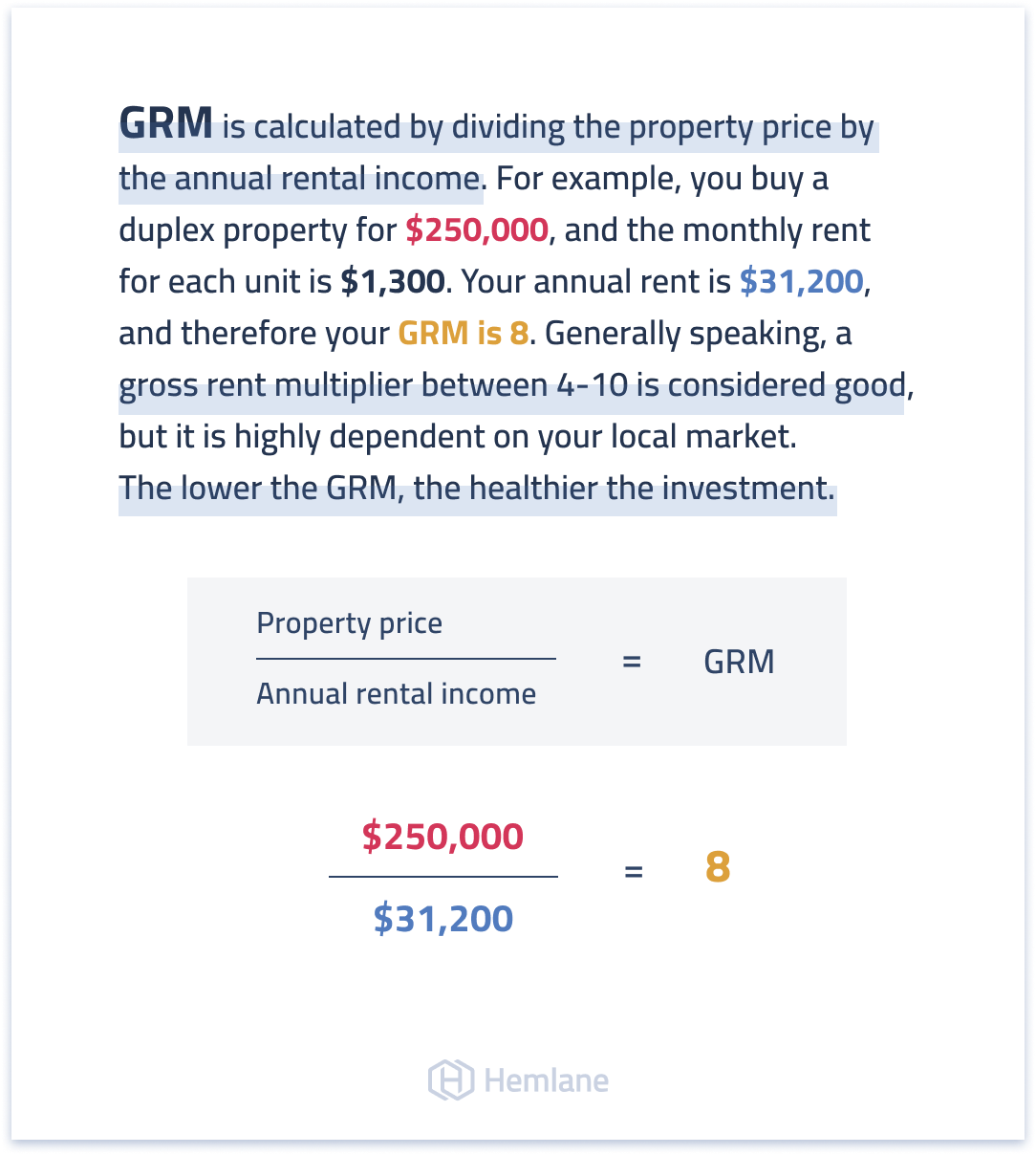 An example of using the gross rent multiplier to project real estate returns